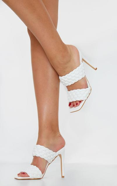 PrettyLittleThing - White PU Square Toe Quilted High Heel Mules, White
