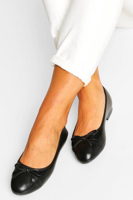 boohoo - Womens Toe Cap Basic Ballet Pumps - Black - 37, Black
