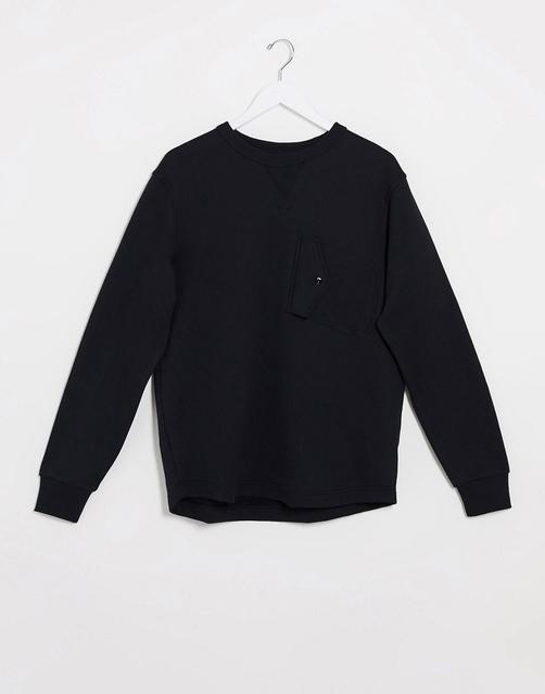 G-Star - Sweatshirt mit Brusttasche in Schwarz