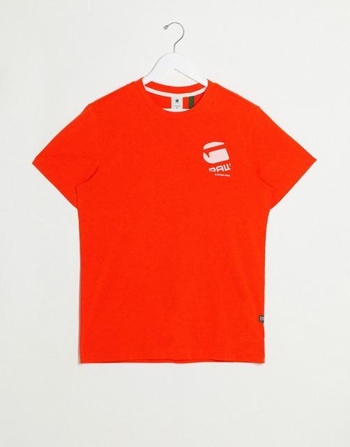 G-Star - T-Shirt mit großem Logo am Rücken, in Orange
