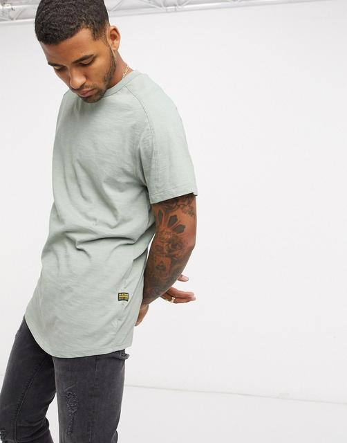 G-Star - Originals – T-Shirt mit Logoetikett, in Khaki-Grün