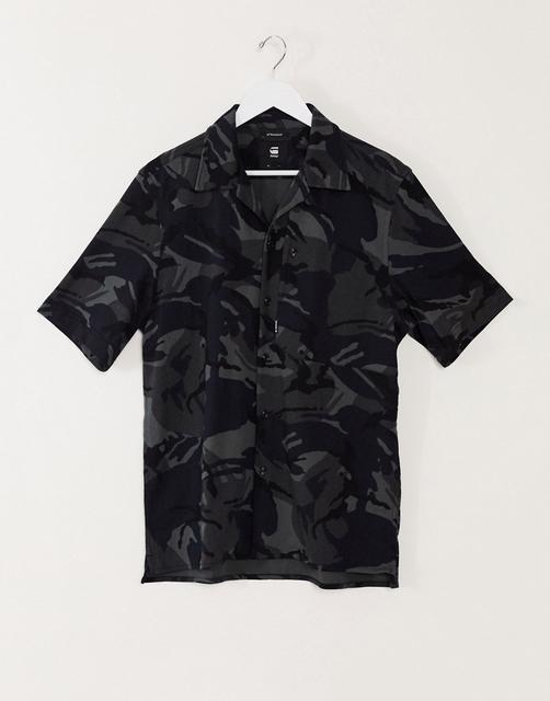G-Star - Stalt – Kurzärmliges Hemd in Schwarz bedruckt
