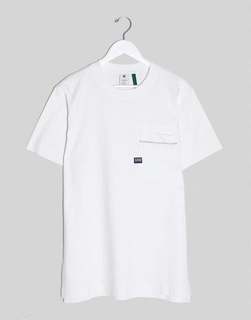 G-Star - Weißes T-Shirt mit Tasche