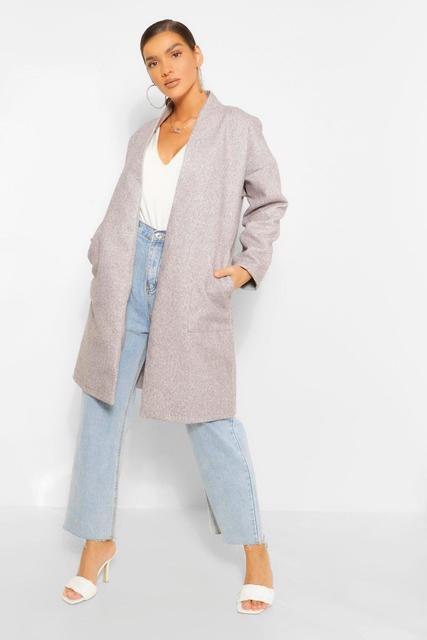 boohoo - Womens Kragenloser Mantel In Wolloptik Mit Taschendetail - Grau - 38, Grau