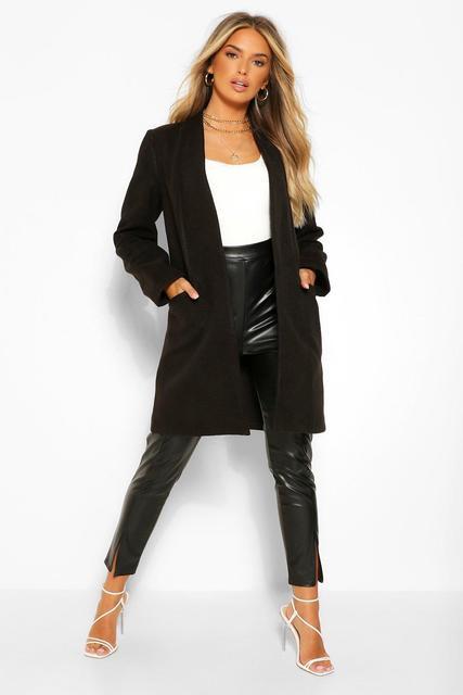 boohoo - Womens Leichter Mantel In Wolloptik - Schwarz - 38, Schwarz