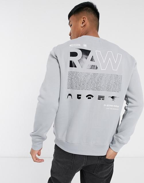 G-Star - Sweatshirt mit Rundhalsausschnitt und Logo hinten in Grau