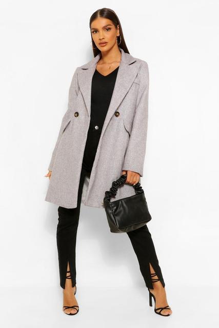 boohoo - Womens Eng Anliegender Mantel In Wolloptik Mit Taschendetail - Grey - 34, Grey