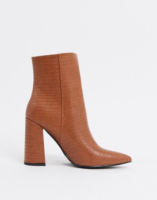 London Rebel - Spitze Ankle-Boots mit Absatz in Toffee-Bronze