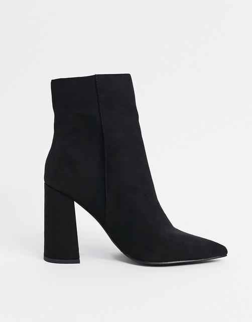 London Rebel - Spitze Ankle-Boots mit Absatz in Schwarz