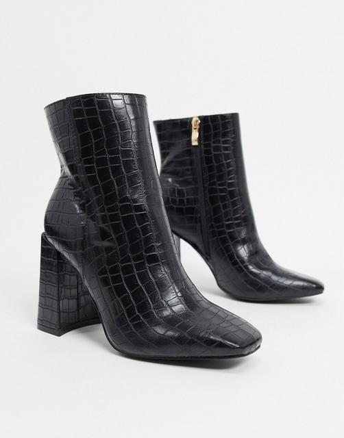 Glamorous - Schlichte Stiefel mit eckiger Zehenpartie in Kroko-Schwarz