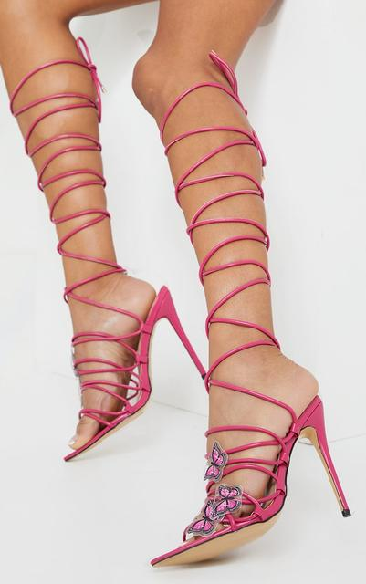 PrettyLittleThing - Pink Pu Butterfly Detail Lace Up Point Toe High Heels, Pink