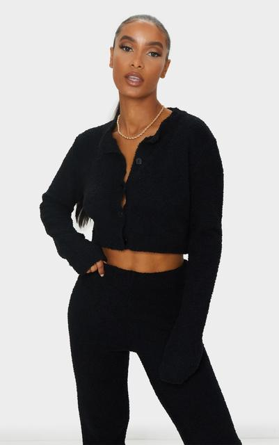 PrettyLittleThing - Black Premium Fluffy Knitted Crop Cardigan, Black