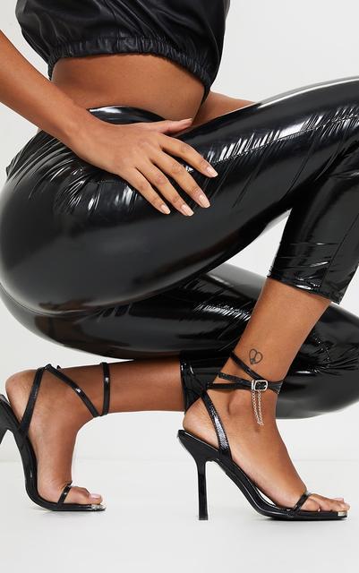 PrettyLittleThing - Black Square Toe High Heel Chain Trim Sandals, Black