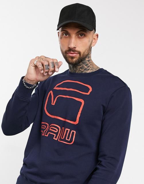 G-Star - Sweatshirt mit Grafik und Rundhalsausschnitt-Blau