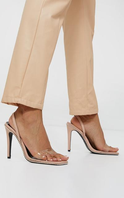 PrettyLittleThing - Nude Clear Strap Studded High Heels, Pink