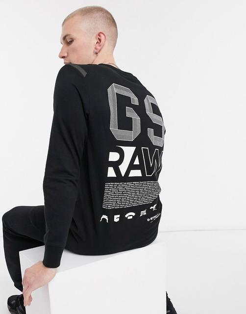 G-Star - Raw – Langärmliges-T-Shirt mit vertikalem Rückendruck in Schwarz