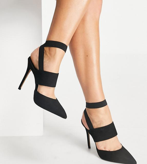 ASOS DESIGN - Wide Fit – Whistling – Schwarze High-Heels mit elastischen Riemen
