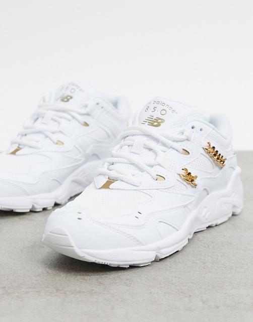 new balance - Weiße Sneaker mit 850 Ketten in Metallic
