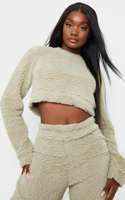 PrettyLittleThing - Tall Sage Green Soft Borg Elastic Hem Cropped Sweater, Sage Green