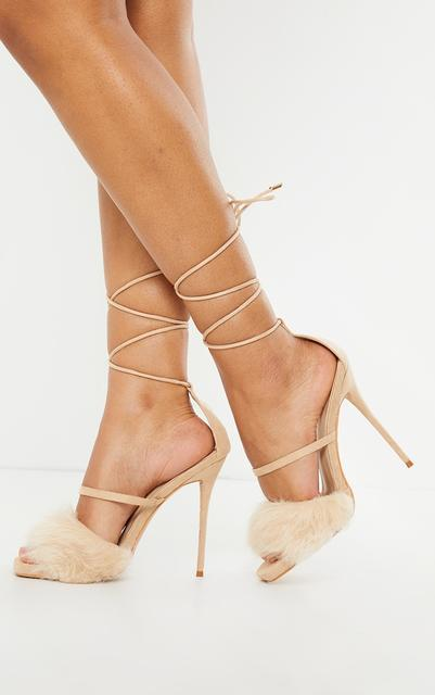 PrettyLittleThing - Nude Faux Fur Lace Up High Heels, Pink