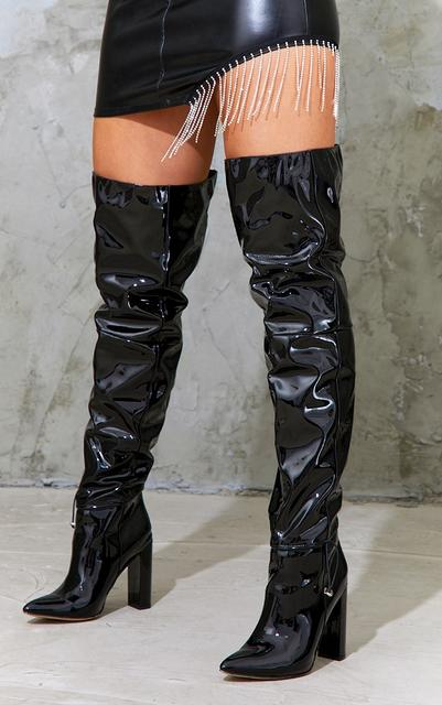 PrettyLittleThing - Black Pu Pointed Over The Knee High Heeled Boots, Black