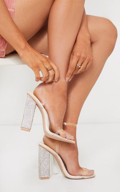 PrettyLittleThing - Nude Clear Strap Block Flat Diamante High Heels, Pink
