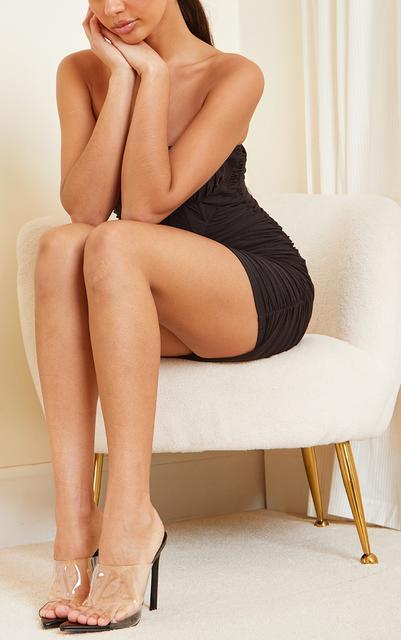 PrettyLittleThing - Black Clear Strap Pu Point Toe High Heels, Black