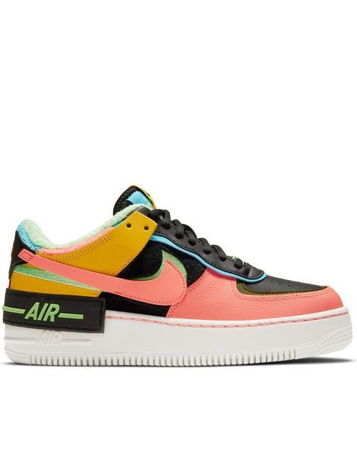 Nike - Air Force 1 Shadow – Sneaker mit Kunstpelz in Schwarz und Neon-Mehrfarbig