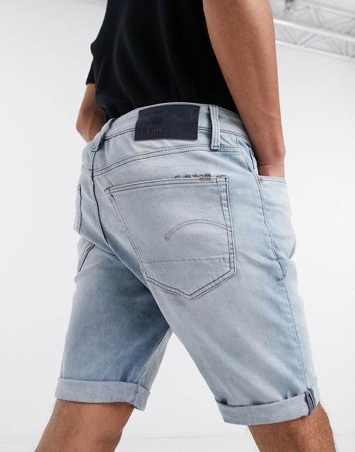 G-Star - 3301 – Schmal geschnittene Jeans-Shorts-Blau