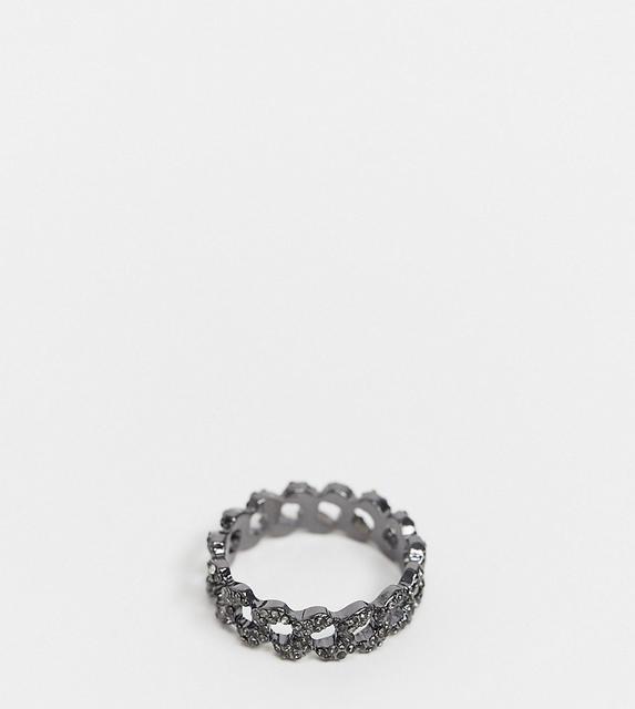 ASOS Curve - ASOS DESIGN Curve – Silberfarbener Ring im Kettendesign