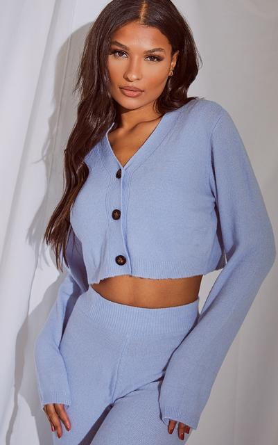 PrettyLittleThing - Baby Blue Soft Knit Slouchy Button Cardigan, Blue