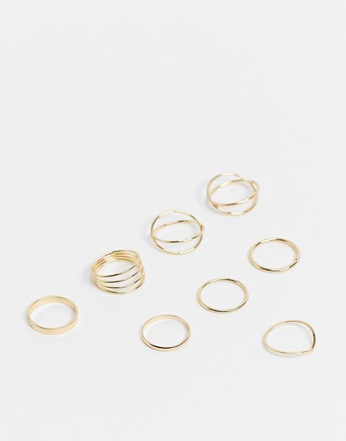 Topshop - Goldfarbene Ring zum Kombinieren im 8-er Pack