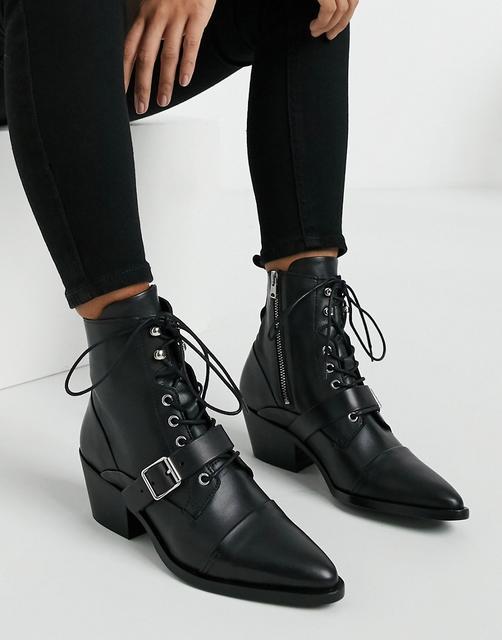 AllSaints - Katy – Schwarze Schnürstiefel aus Leder mit Absätzen und Schnallen