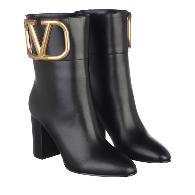 Valentino - Boots - V Logo Ankle Boots Leather Black - in schwarz - für Damen