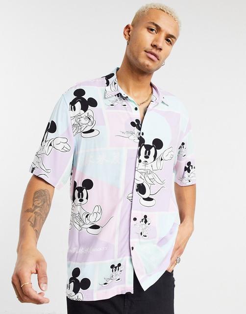 Bershka - Mickey Mouse – Hemd in Lila-Violett