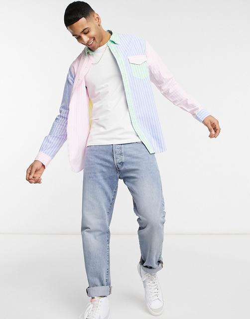 Polo Ralph Lauren - Bunt gestreiftes Oxfordhemd mit Button-down-Kragen und Polospieler-Logo in regulärer Passform-Mehrfarbig