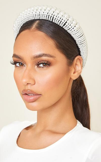 PrettyLittleThing - White Assorted Pearl Chunky Headband, White