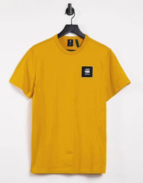 G-Star - T-Shirt mit Logo-Aufnäher in Gelb