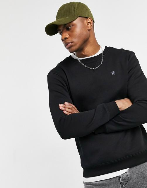 G-Star - Core – Sweatshirt mit kleinem Logo und Rundhalsausschnitt-Schwarz